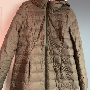 American Eagle brown midi puffer jacket